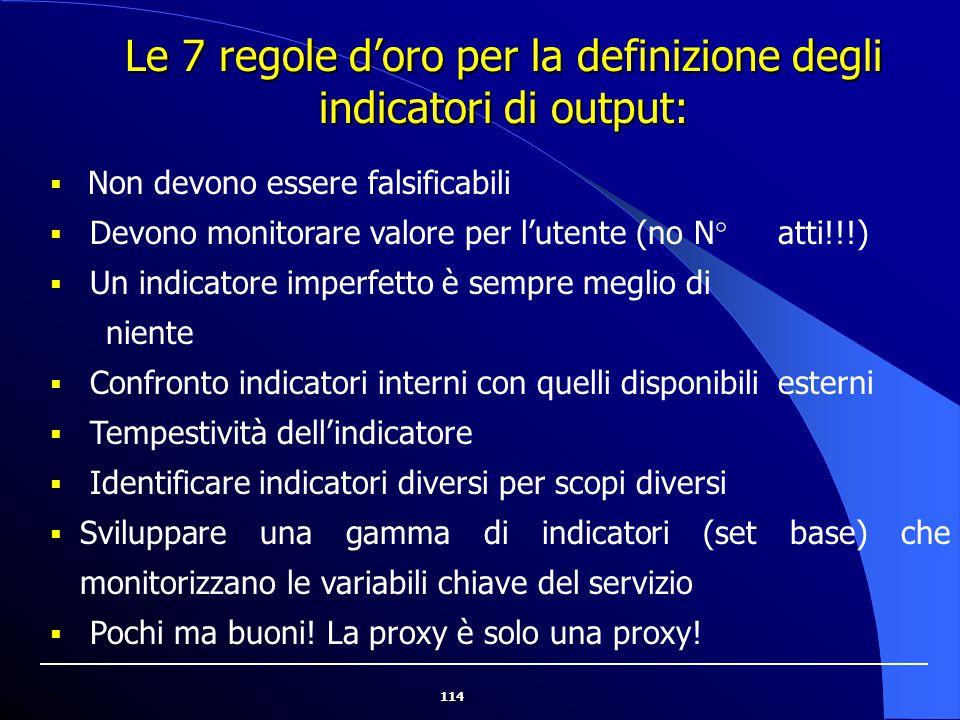 Le 7 regole d'oro per la definizione degli indicatori di output: