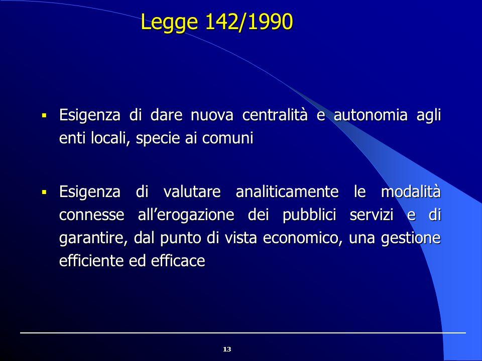 Legge 142/1990 Esigenza di dare nuova centralità e autonomia agli enti locali, specie ai comuni.
