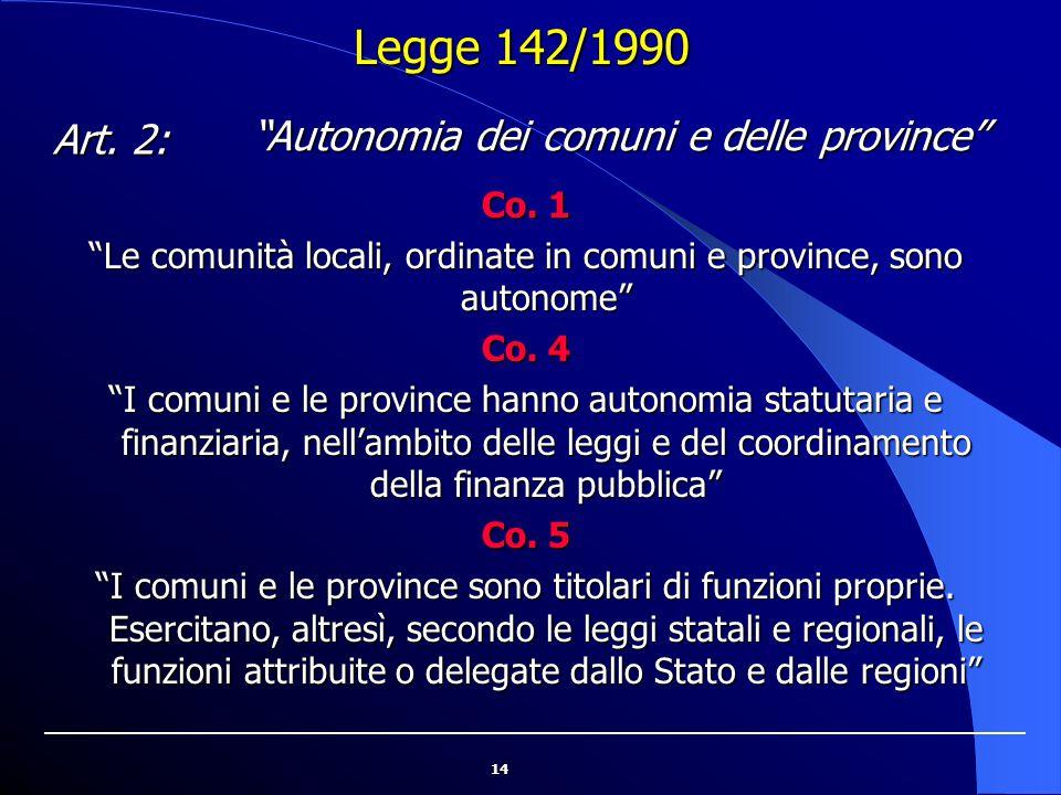 Legge 142/1990 Autonomia dei comuni e delle province Art. 2: Co. 1