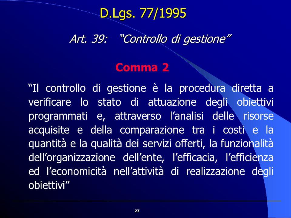 Art. 39: Controllo di gestione
