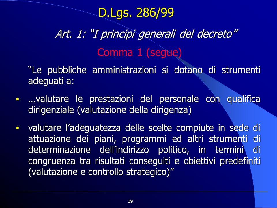 Art. 1: I principi generali del decreto