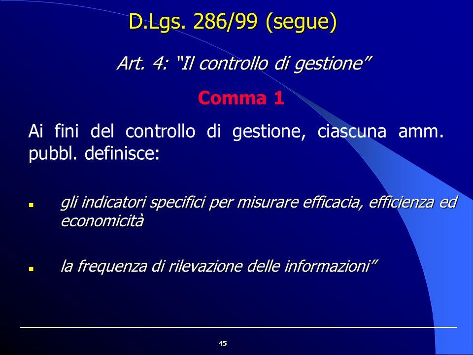 Art. 4: Il controllo di gestione
