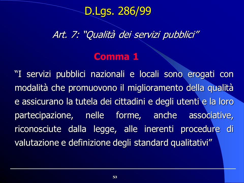 Art. 7: Qualità dei servizi pubblici