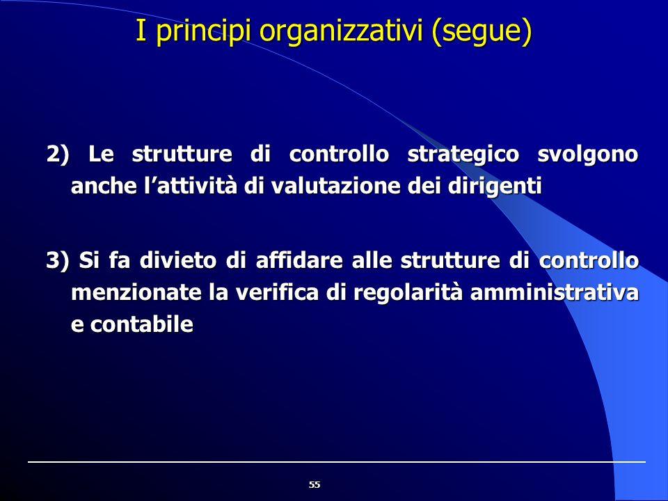 I principi organizzativi (segue)