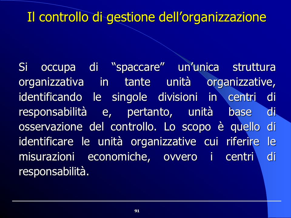 Il controllo di gestione dell'organizzazione