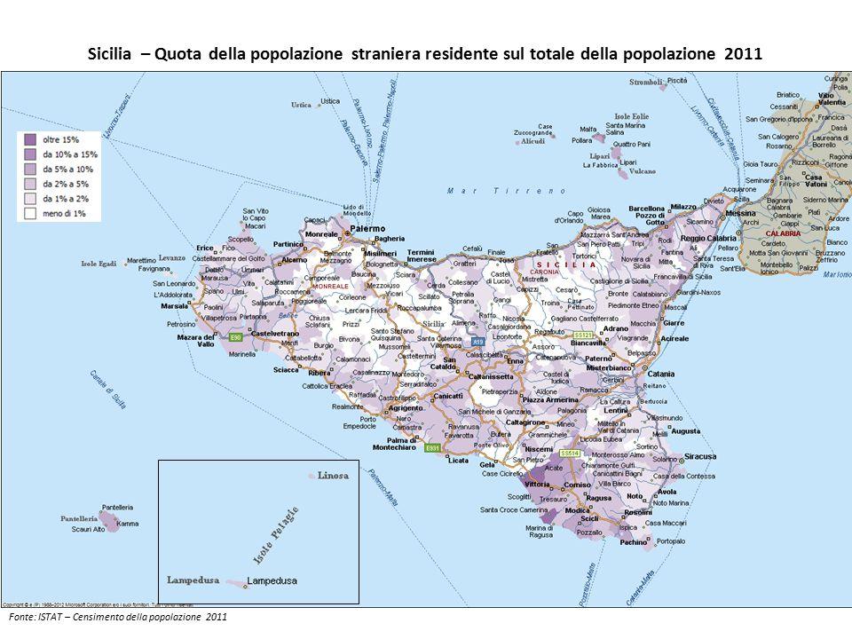 Sicilia – Quota della popolazione straniera residente sul totale della popolazione 2011