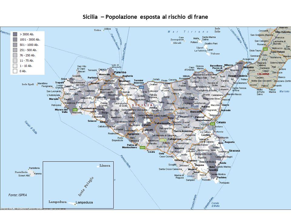 Sicilia – Popolazione esposta al rischio di frane