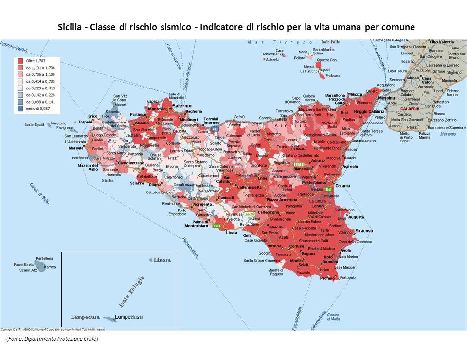 Sicilia - Classe di rischio sismico - Indicatore di rischio per la vita umana per comune