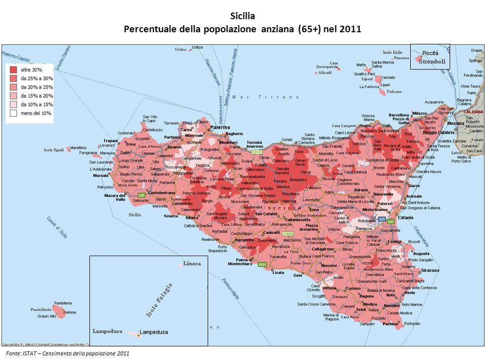 Percentuale della popolazione anziana (65+) nel 2011