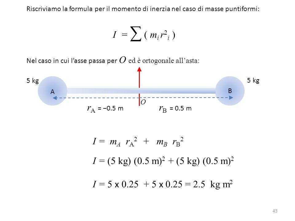 I = ∑ ( mi r2i ) rA = −0.5 m rB = 0.5 m I = mA rA2 + mB rB2
