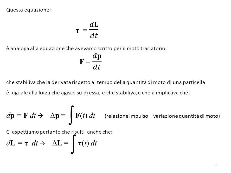 Questa equazione: τ = 𝑑𝐋 𝑑𝑡. è analoga alla equazione che avevamo scritto per il moto traslatorio:
