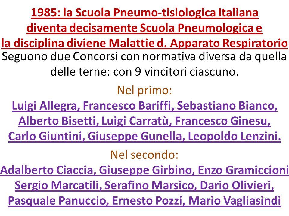 1985: la Scuola Pneumo-tisiologica Italiana diventa decisamente Scuola Pneumologica e la disciplina diviene Malattie d. Apparato Respiratorio
