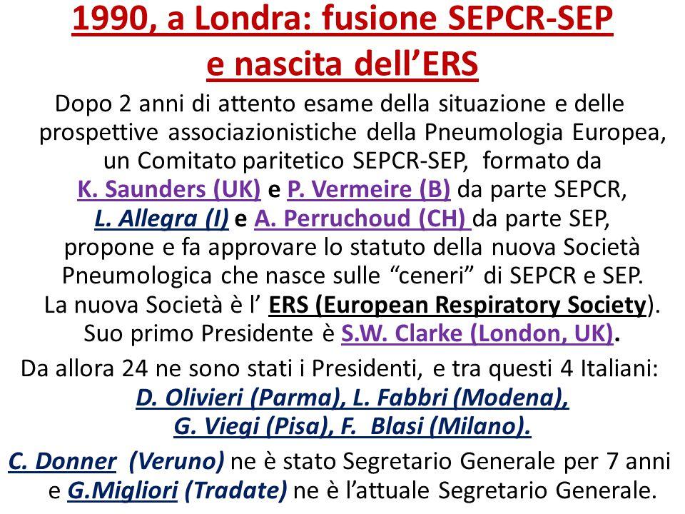 1990, a Londra: fusione SEPCR-SEP e nascita dell'ERS