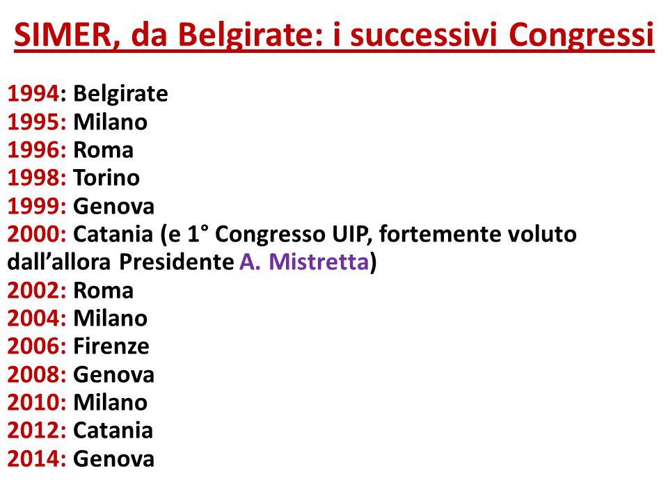 SIMER, da Belgirate: i successivi Congressi