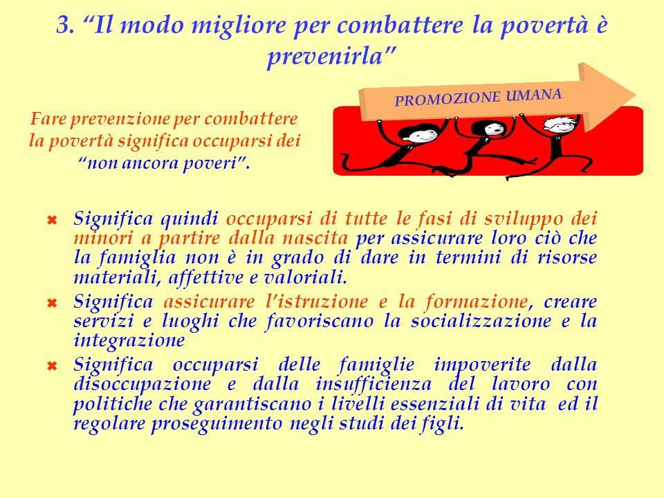3. Il modo migliore per combattere la povertà è prevenirla