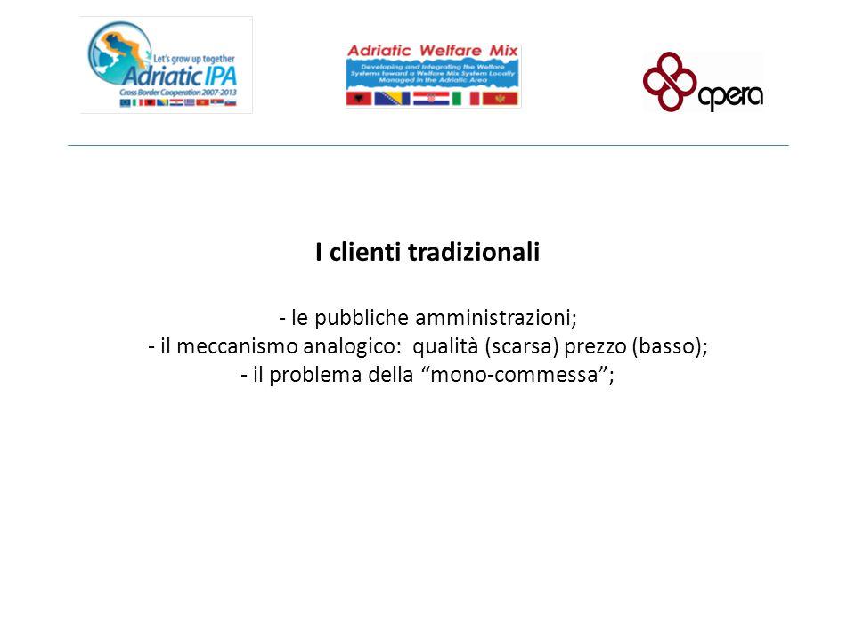 I clienti tradizionali - le pubbliche amministrazioni; - il meccanismo analogico: qualità (scarsa) prezzo (basso); - il problema della mono-commessa ;