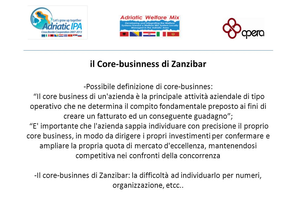 il Core-businness di Zanzibar -Possibile definizione di core-businnes: Il core business di un azienda è la principale attività aziendale di tipo operativo che ne determina il compito fondamentale preposto ai fini di creare un fatturato ed un conseguente guadagno ; E importante che l azienda sappia individuare con precisione il proprio core business, in modo da dirigere i propri investimenti per confermare e ampliare la propria quota di mercato d eccellenza, mantenendosi competitiva nei confronti della concorrenza -Il core-businnes di Zanzibar: la difficoltà ad individuarlo per numeri, organizzazione, etcc..