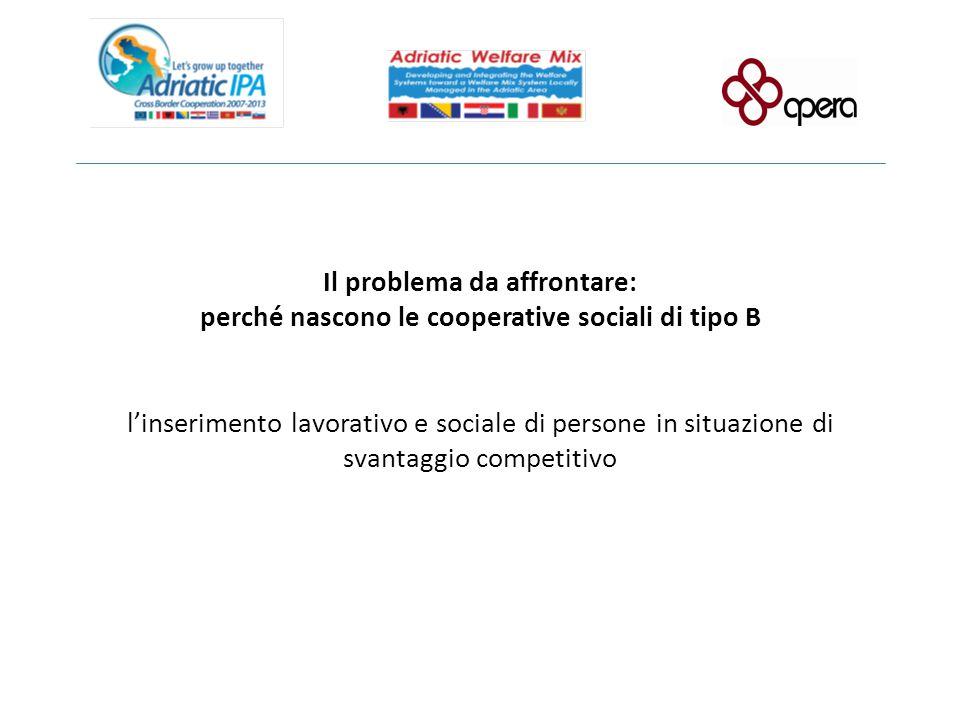 Il problema da affrontare: perché nascono le cooperative sociali di tipo B l'inserimento lavorativo e sociale di persone in situazione di svantaggio competitivo
