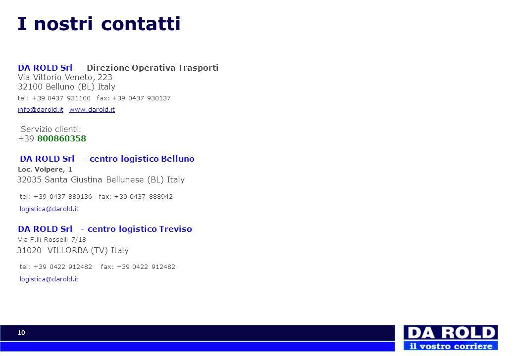 I nostri contatti DA ROLD Srl Direzione Operativa Trasporti Via Vittorio Veneto, 223 32100 Belluno (BL) Italy.