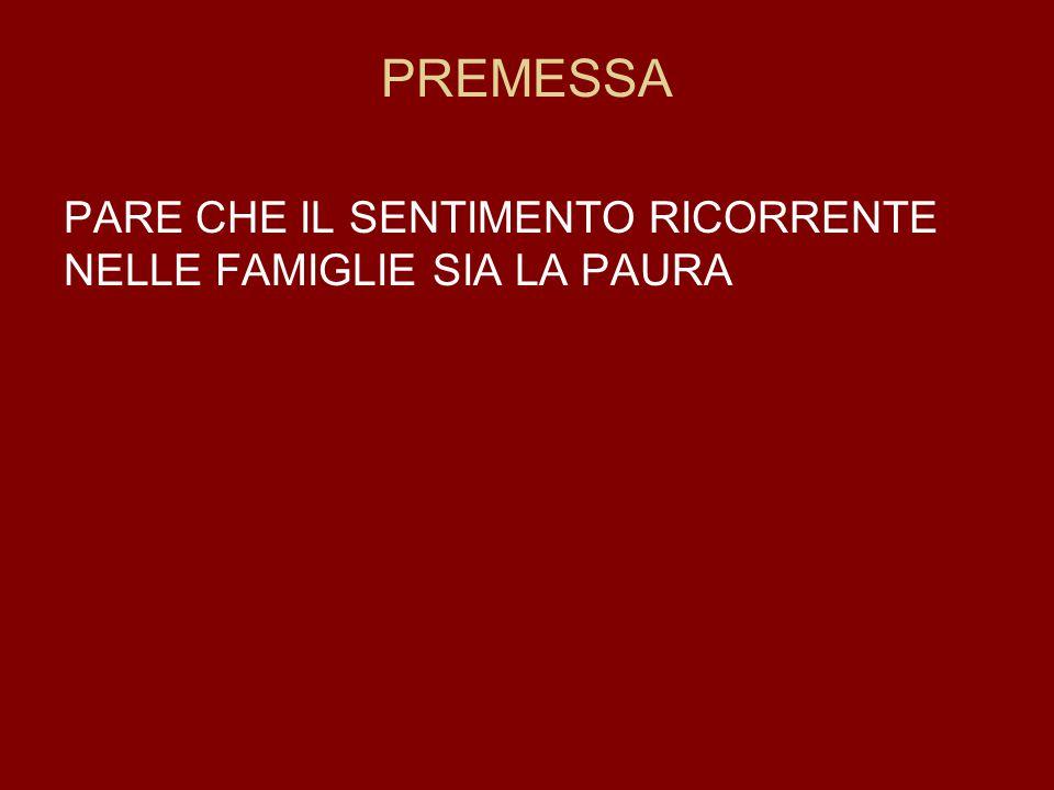 PREMESSA PARE CHE IL SENTIMENTO RICORRENTE NELLE FAMIGLIE SIA LA PAURA