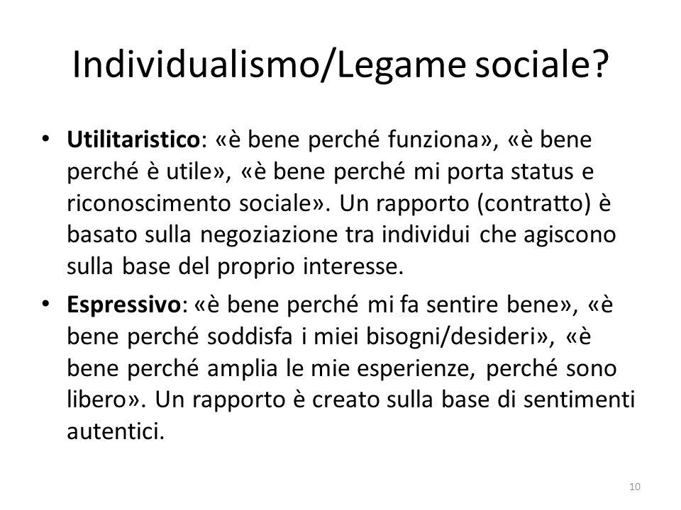 Individualismo/Legame sociale
