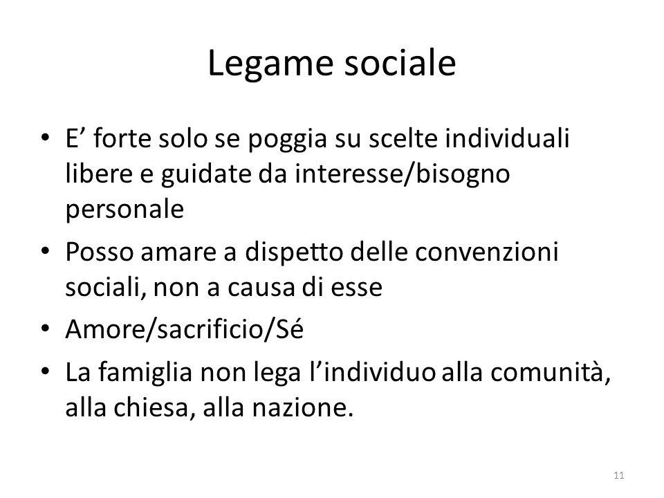 Legame sociale E' forte solo se poggia su scelte individuali libere e guidate da interesse/bisogno personale.
