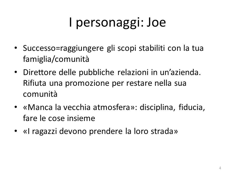 I personaggi: Joe Successo=raggiungere gli scopi stabiliti con la tua famiglia/comunità.