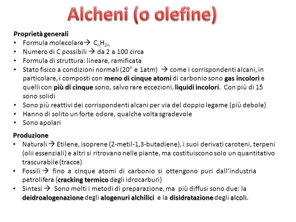 Alcheni (o olefine) Proprietà generali Formula molecolare CnH2n