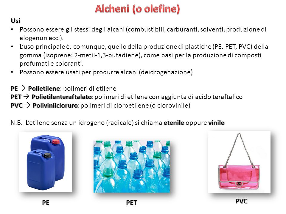 Alcheni (o olefine) Usi