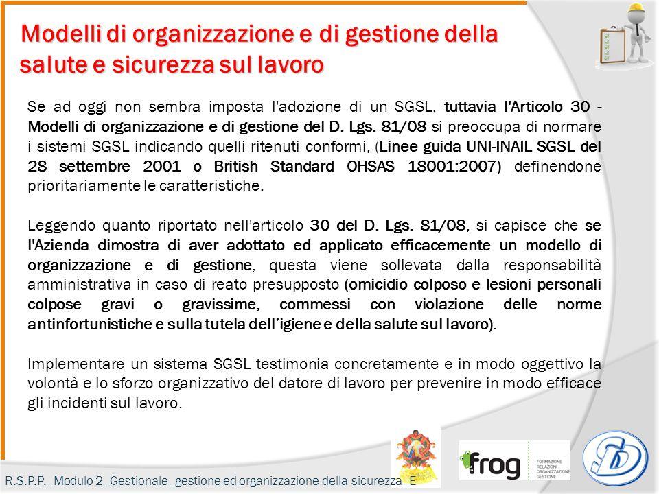 Modelli di organizzazione e di gestione della salute e sicurezza sul lavoro