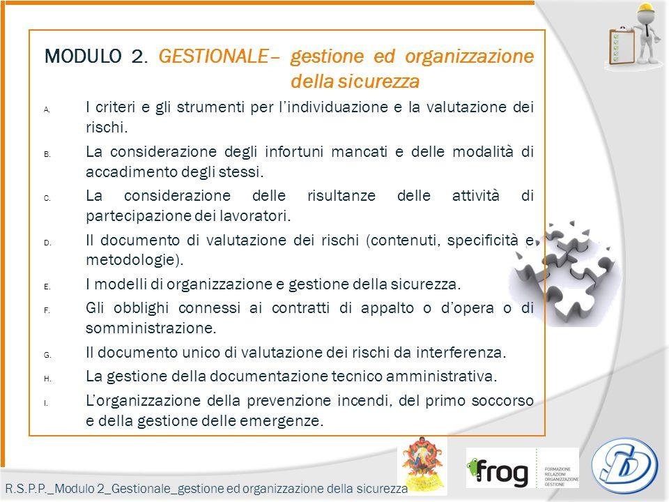 MODULO 2. GESTIONALE– gestione ed organizzazione della sicurezza