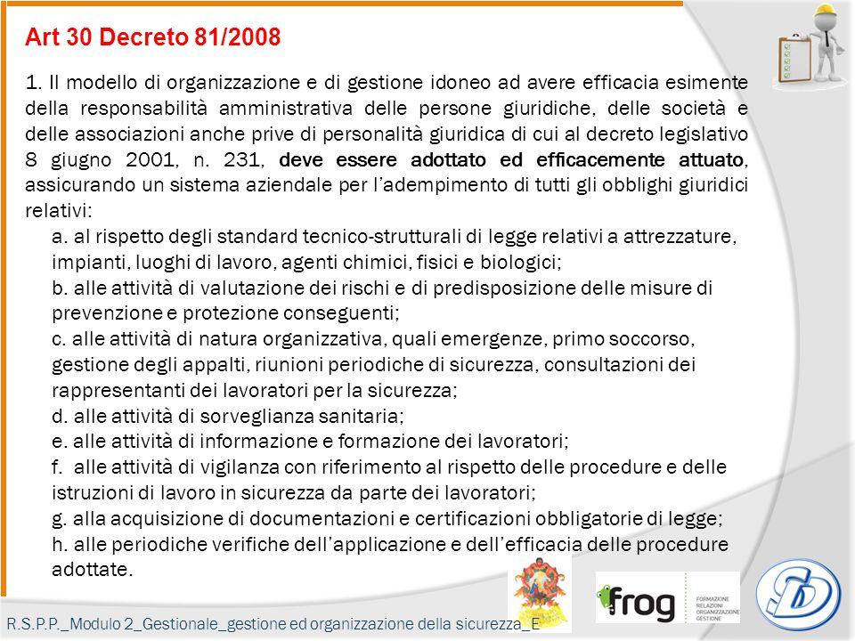 Art 30 Decreto 81/2008