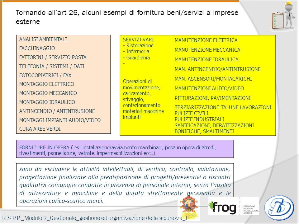 Tornando all'art 26, alcuni esempi di fornitura beni/servizi a imprese esterne