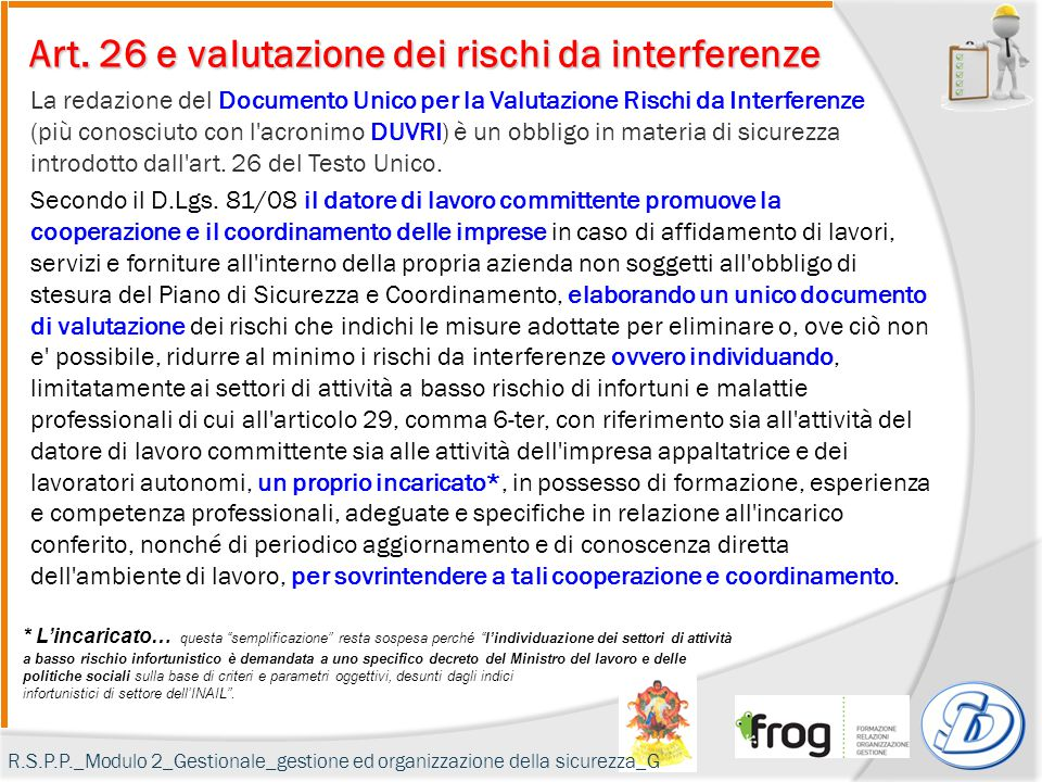 Art. 26 e valutazione dei rischi da interferenze