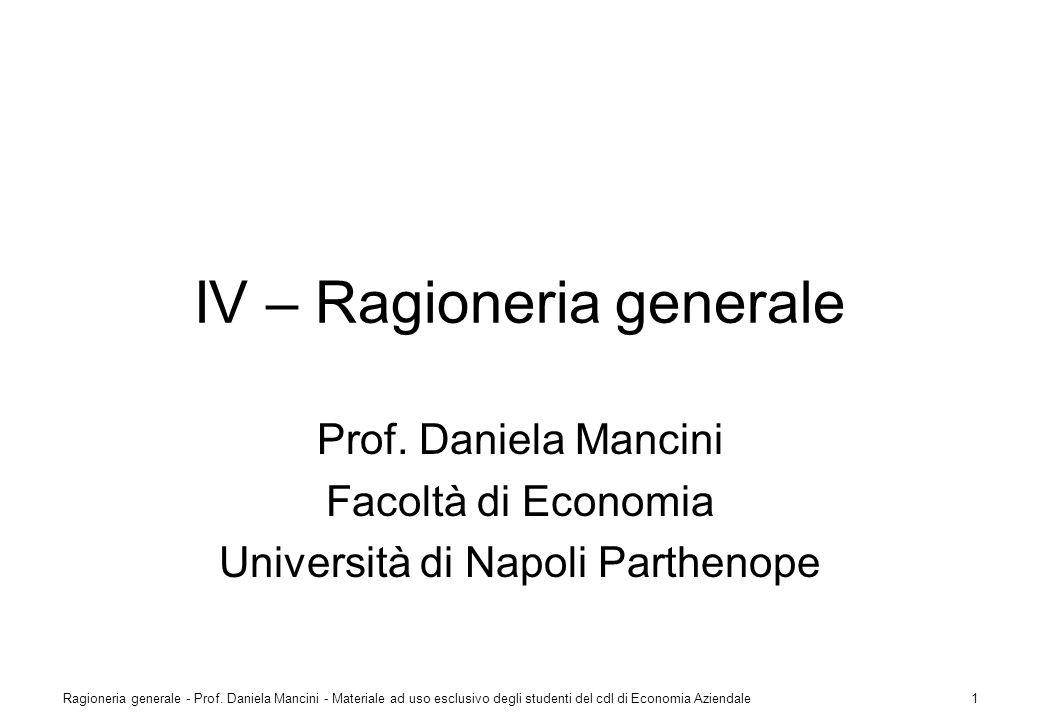 IV – Ragioneria generale