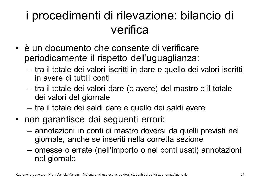 i procedimenti di rilevazione: bilancio di verifica