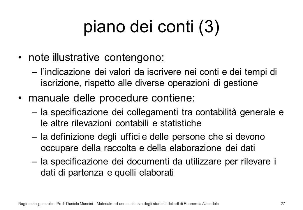 piano dei conti (3) note illustrative contengono: