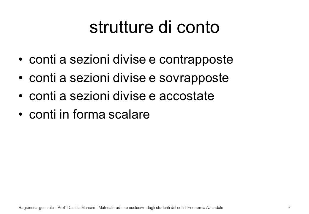 strutture di conto conti a sezioni divise e contrapposte