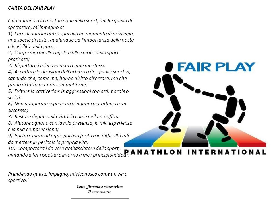 CARTA DEL FAIR PLAY