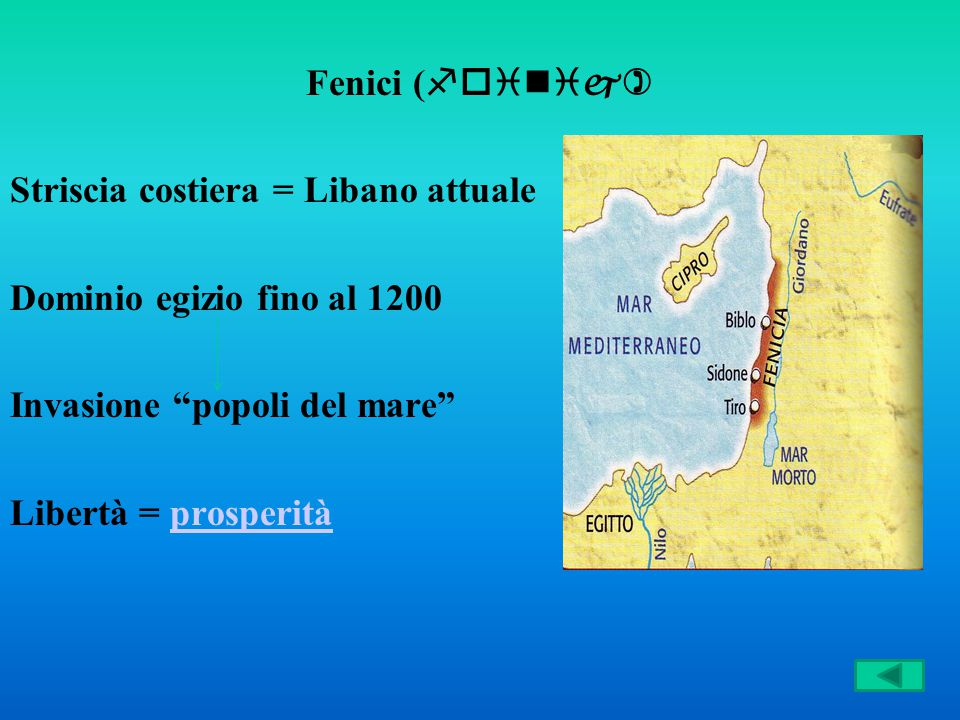 Fenici (foinij) Striscia costiera = Libano attuale. Dominio egizio fino al 1200. Invasione popoli del mare