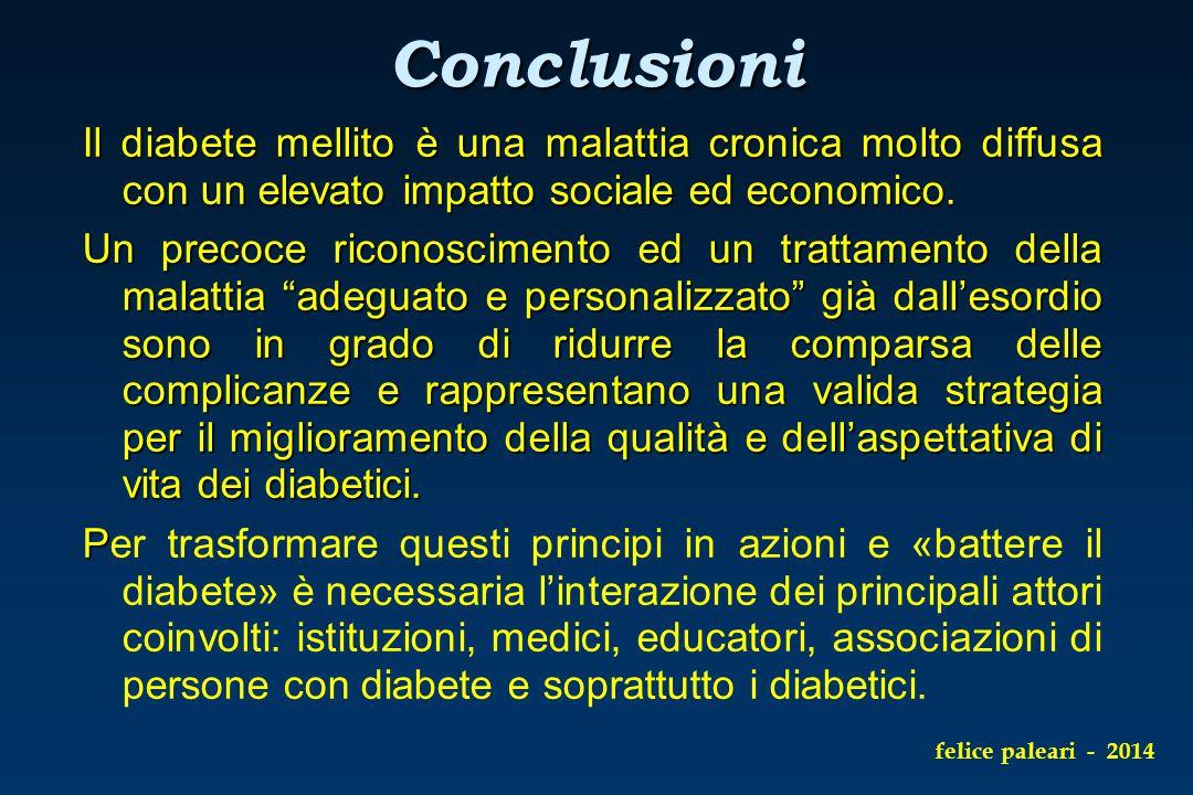 Conclusioni Il diabete mellito è una malattia cronica molto diffusa con un elevato impatto sociale ed economico.