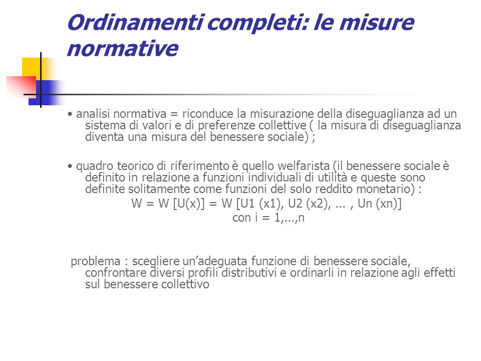 Ordinamenti completi: le misure normative