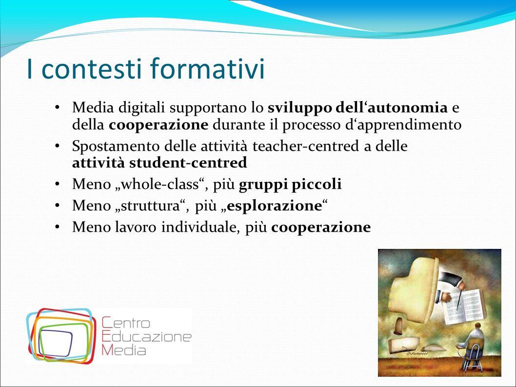 I contesti formativi Media digitali supportano lo sviluppo dell'autonomia e della cooperazione durante il processo d'apprendimento.