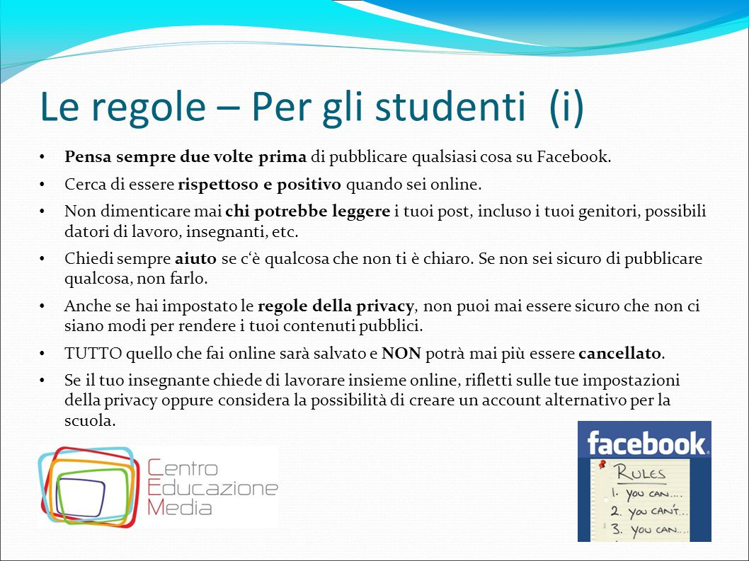 Le regole – Per gli studenti (i)