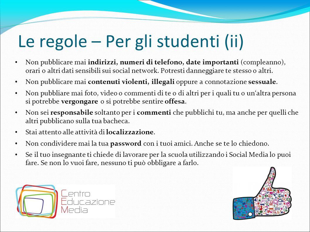 Le regole – Per gli studenti (ii)