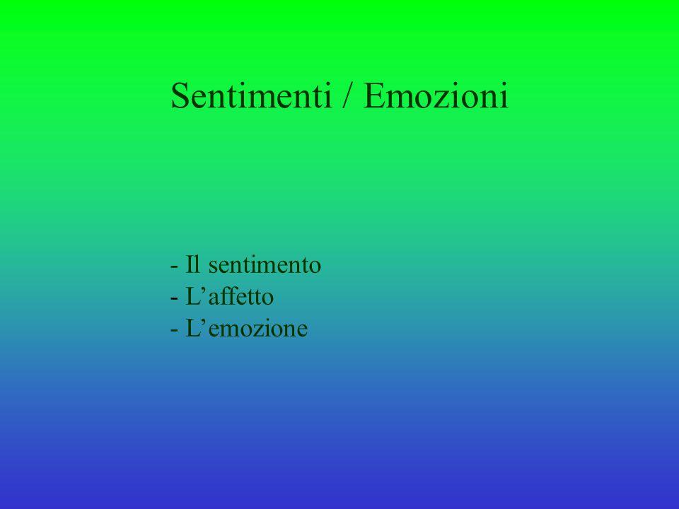 Sentimenti / Emozioni - Il sentimento L'affetto - L'emozione