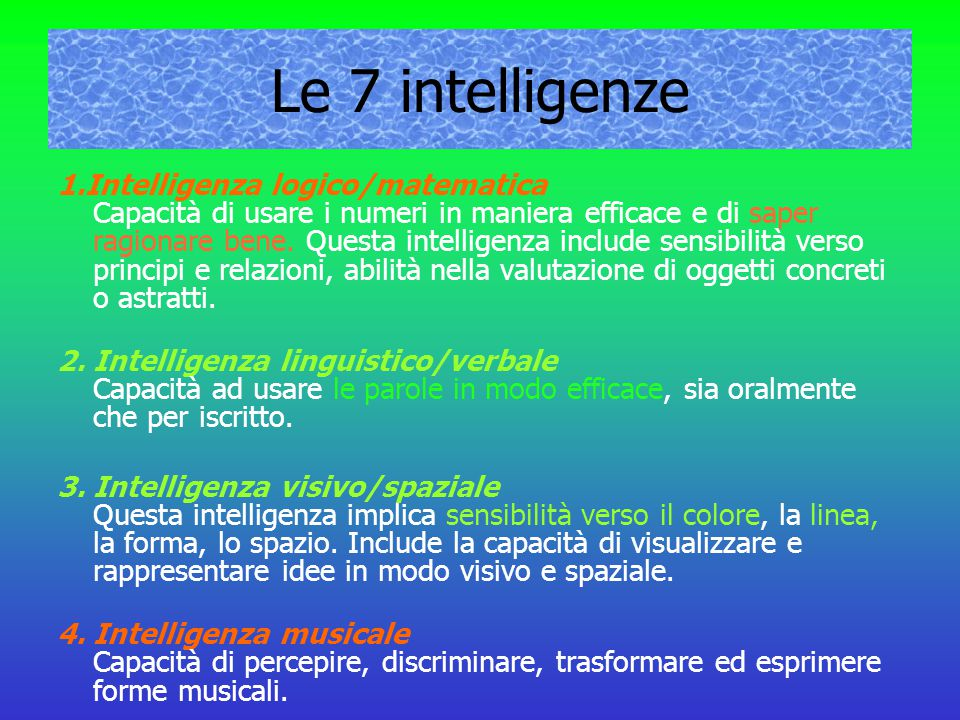 Le 7 intelligenze