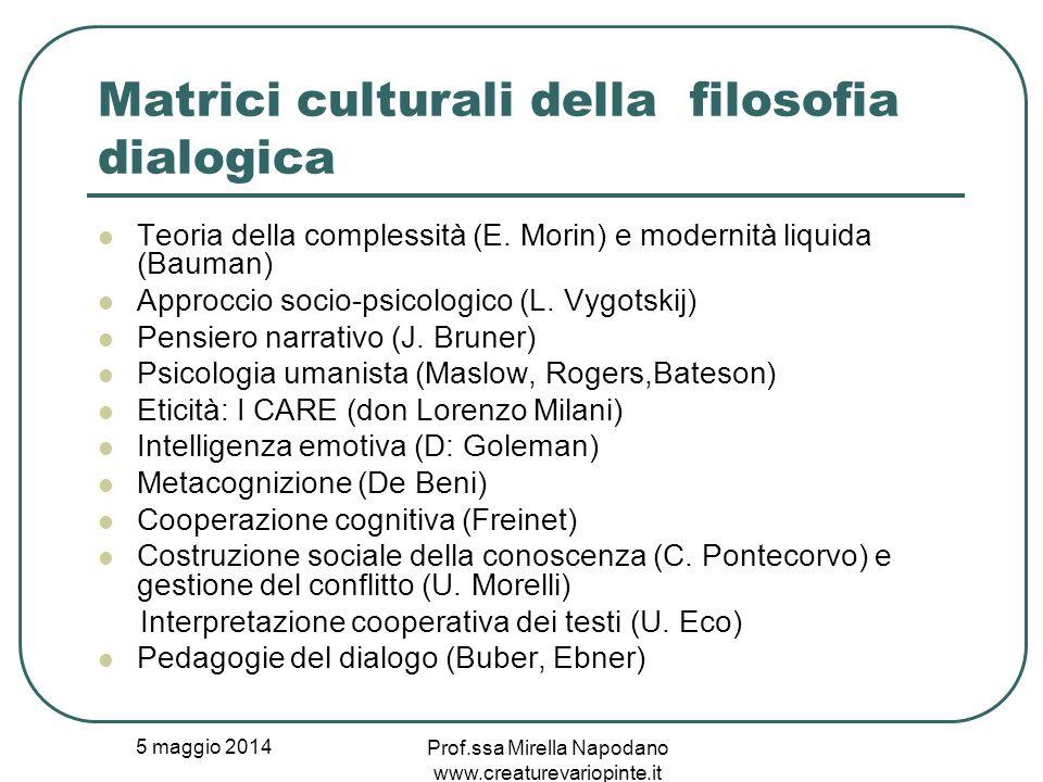 Matrici culturali della filosofia dialogica