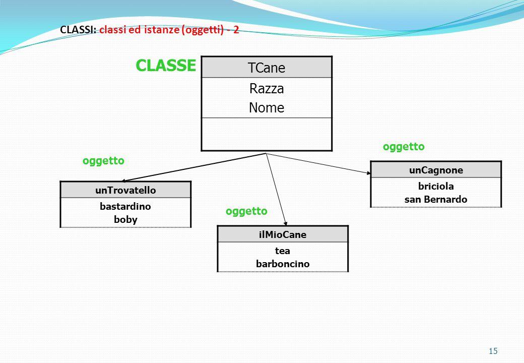 CLASSI: classi ed istanze (oggetti) - 2