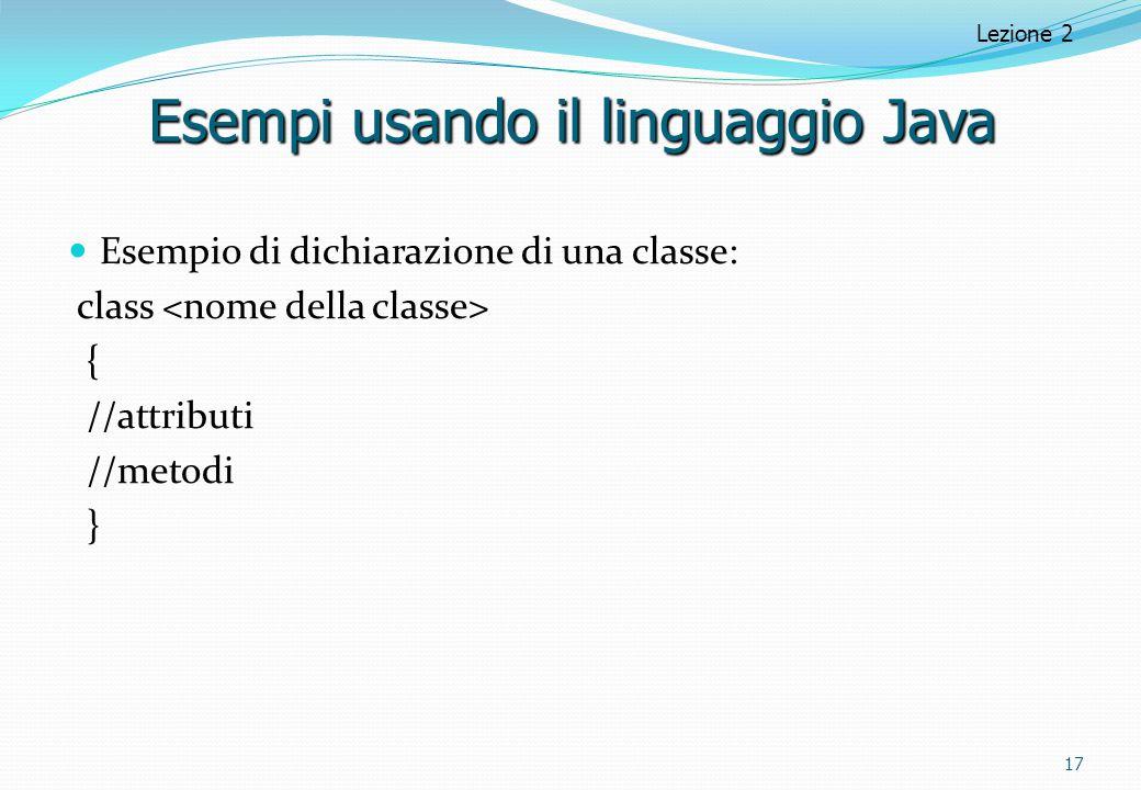 Esempi usando il linguaggio Java